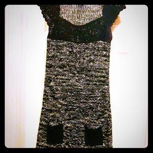 BCBGMAXAZRIA Black & White Knitted Dress